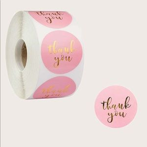 """500 pcs Pink """"Thank You"""" Stickers"""